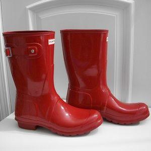 *HUNTER* Fire Engine Red ORIGINAL SHORT Gloss Boot